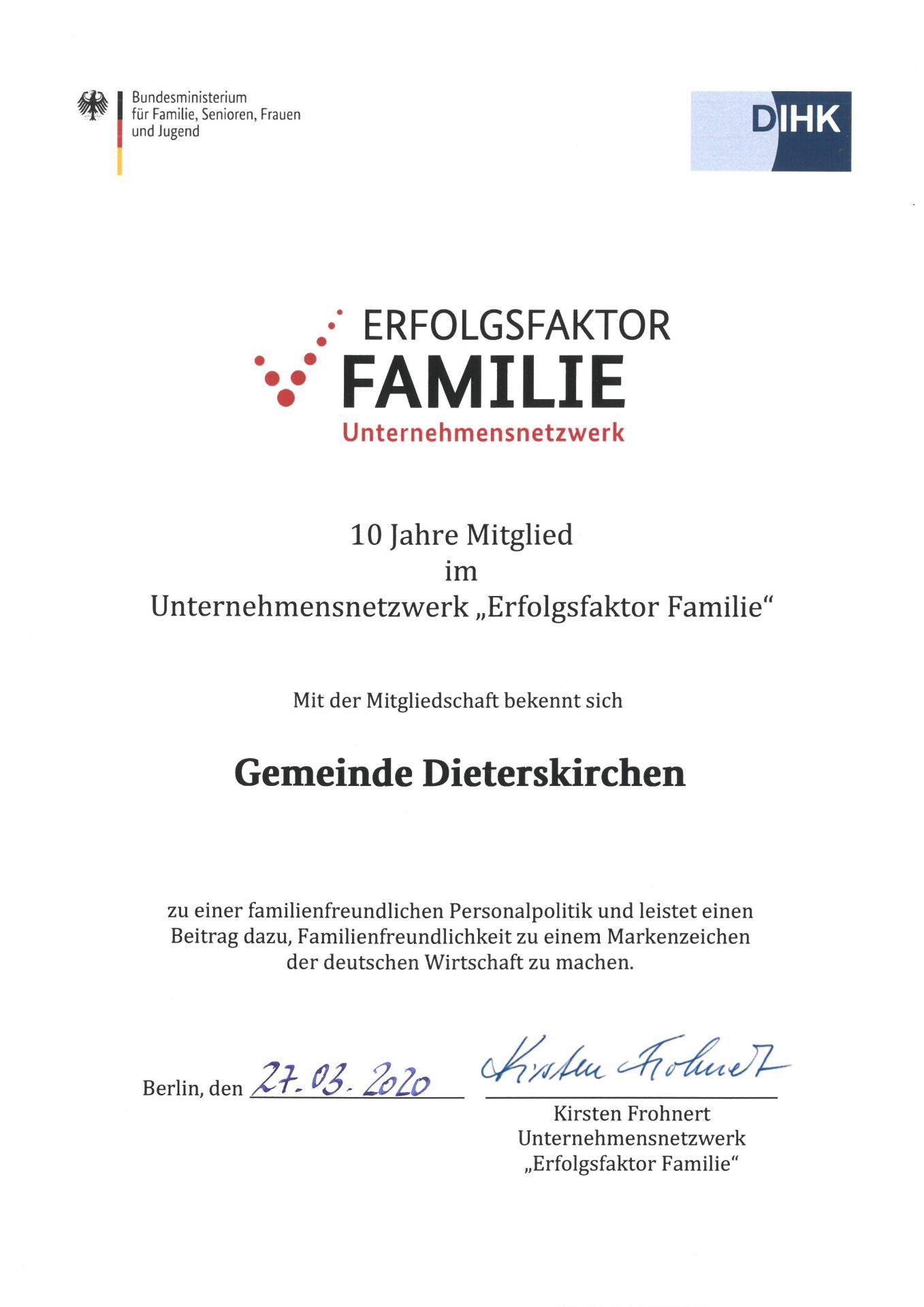 """10 Jahre Mitgliedschaft Unternehmensnetzwerk """"Erfolgsfaktor Familie"""""""
