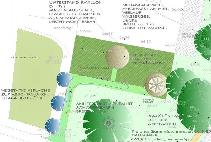 Entwurf des Festplatzes Blumberg (nach K. Baumgart)