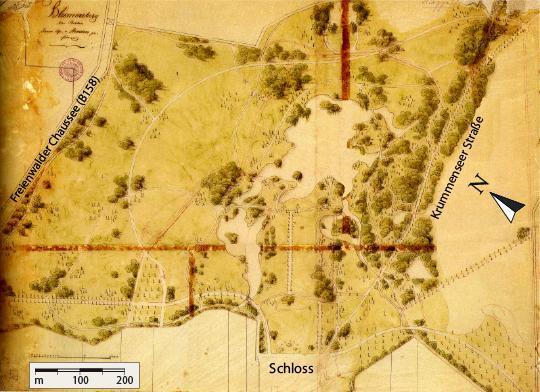 Projekt parku wykonany przez Lennego (w 1840 r) ze wskazówkami orientacyjnymi