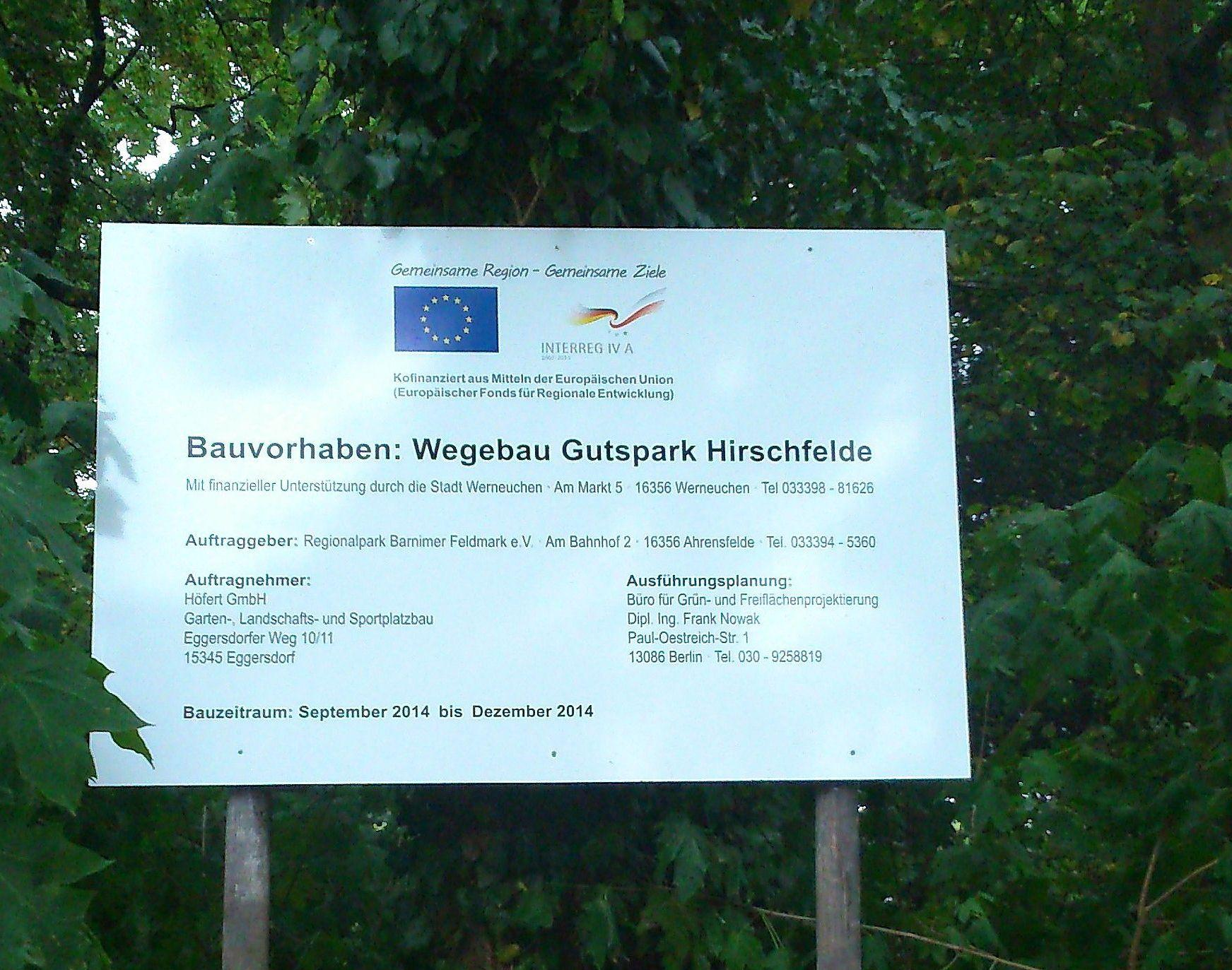 Baustellenschild Projekt Pomeraniapark