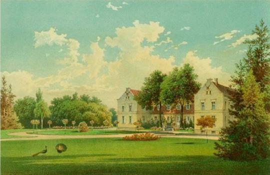 Pałac w Hirschfelde w 1840 r.  Muzeum Marchijskie w Berlinie