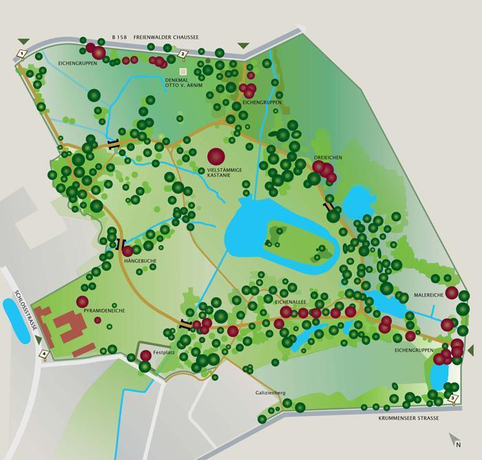 Der Gutspark Blumberg heute – Wegeplan