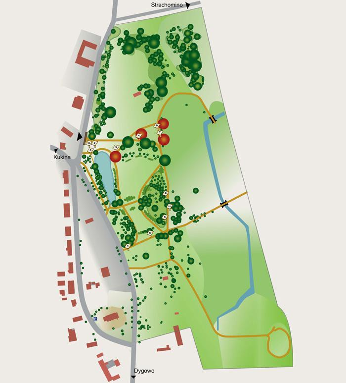 Manor garden in Rusowo – map
