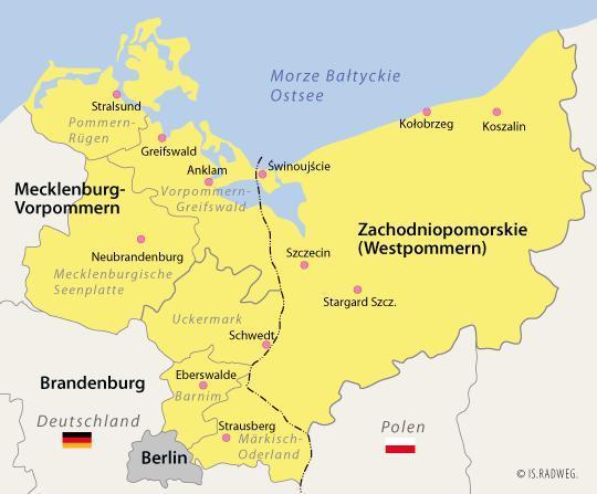 Obszar Euroregionu Pomerania w latach 2014-2020 objęty programem INTERREG V A