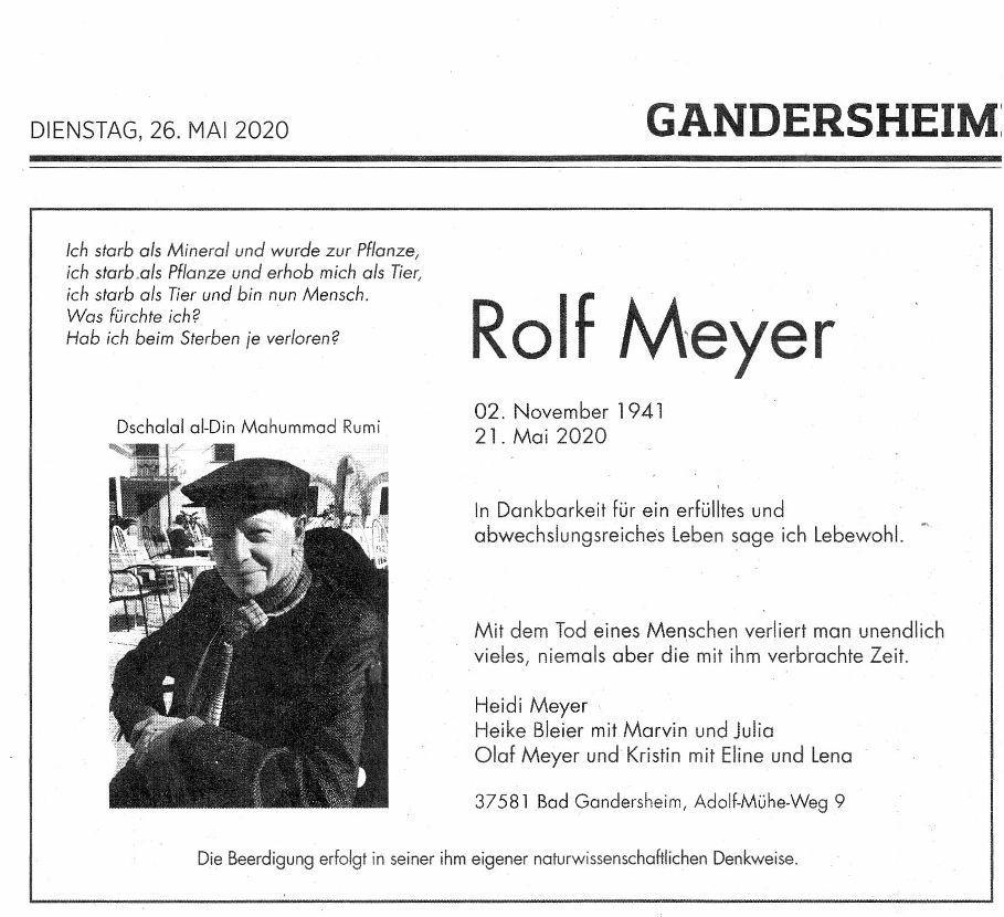 Todesanzeige Rolf Meyer