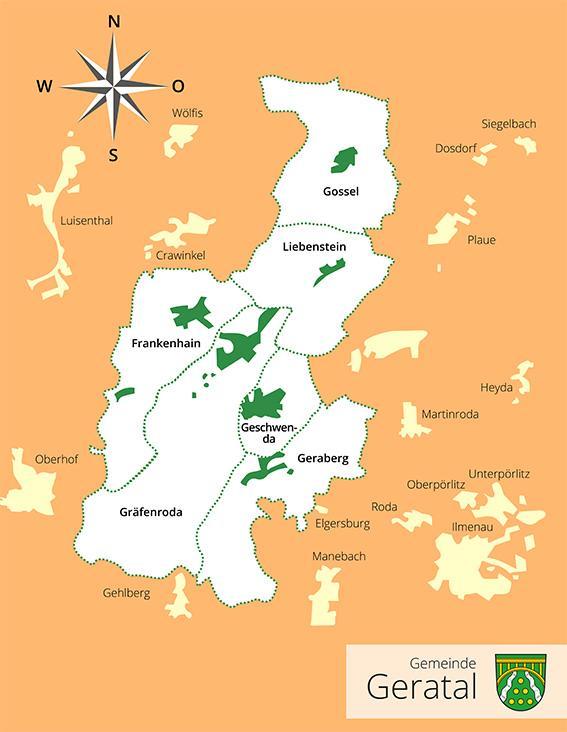 Karte Gemeinde Geratal 2020