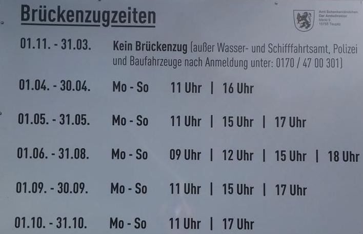 Zugzeiten der Zugbrücke Groß Köris