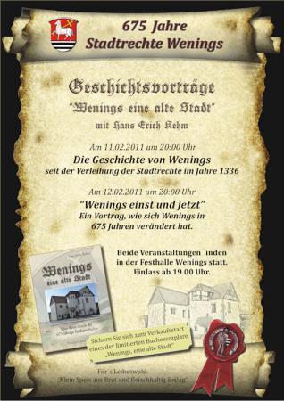 675 Jahre Stadtrechte Wenings - Geschichtsvorträge