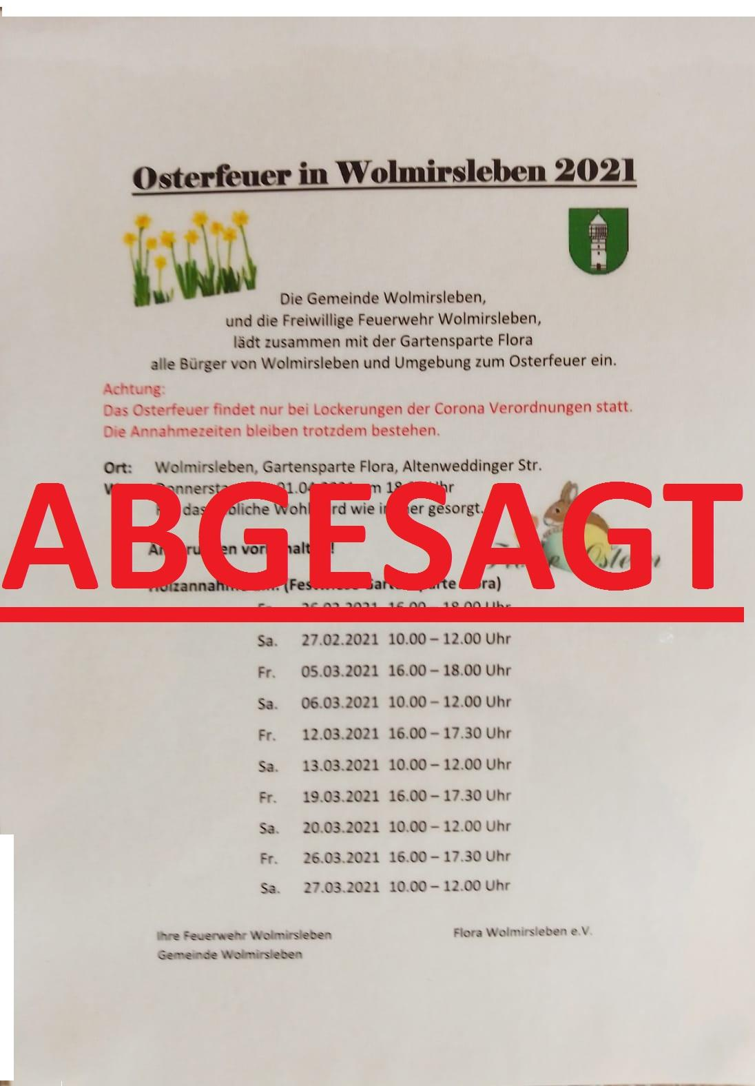Osterfeuer2021Absage