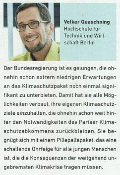 Kommentar Prof. Dr. Volker Quaschning, Neue Energie, 10/2019, S. 22
