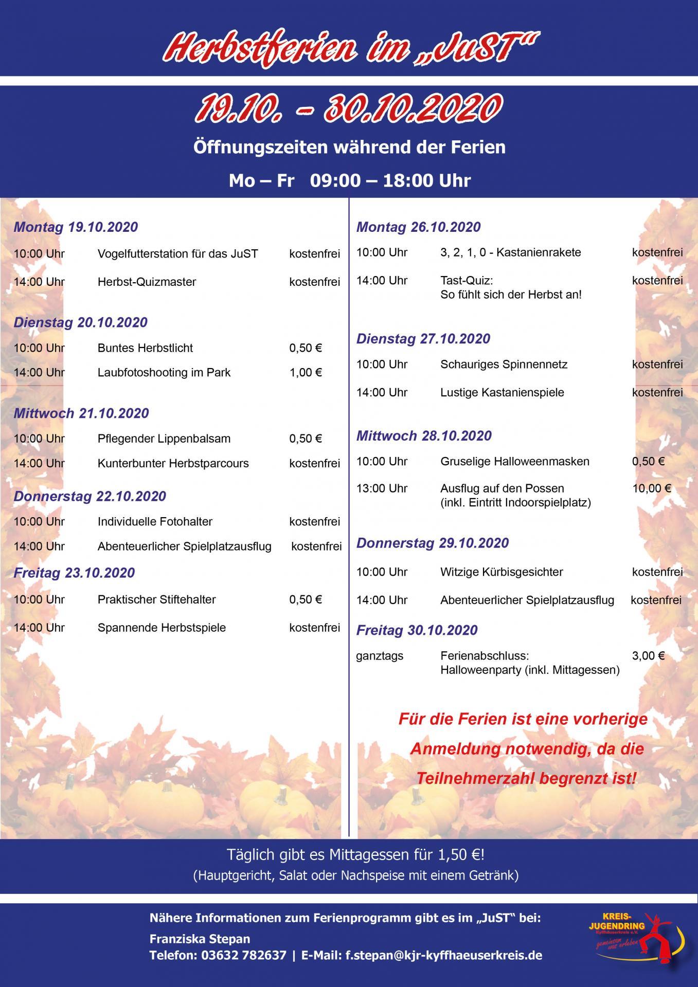 Plakat Herbstferien JuST 19.-30.10.2020