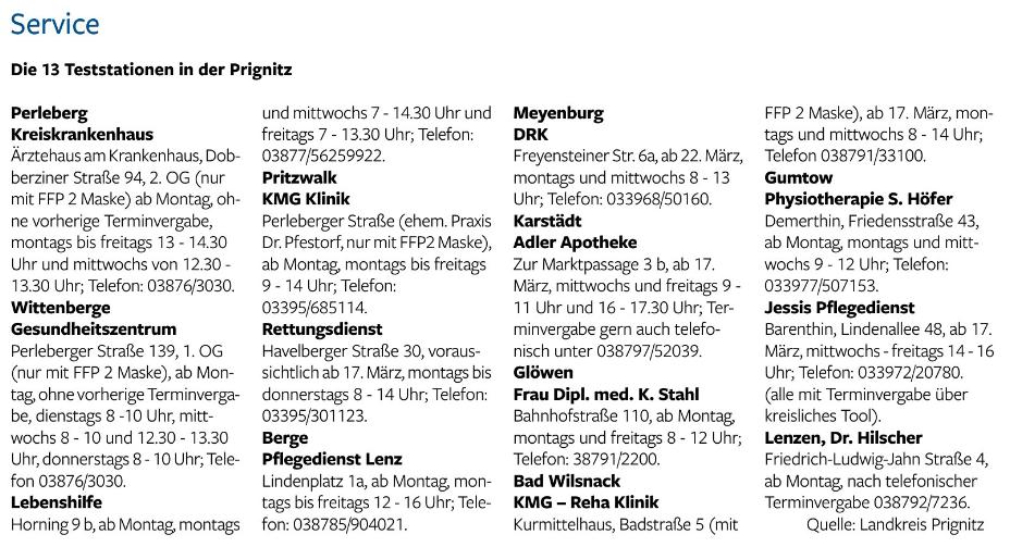 Der Prignitzer, 13.03.2021   Service: Wo testen in der Pignitz?