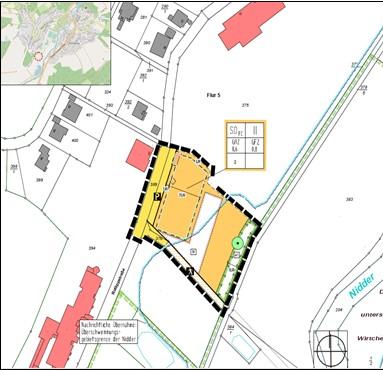"""Planzeichnung des Bebauungsplans Sondergebiet """"Sport- und Fitness-Center"""" in der Kernstadt Ortenberg"""