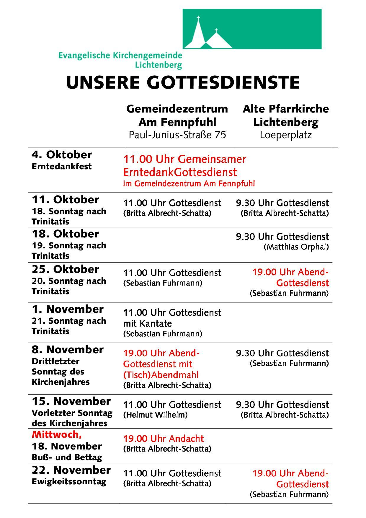 Gottesdienste Oktober-November