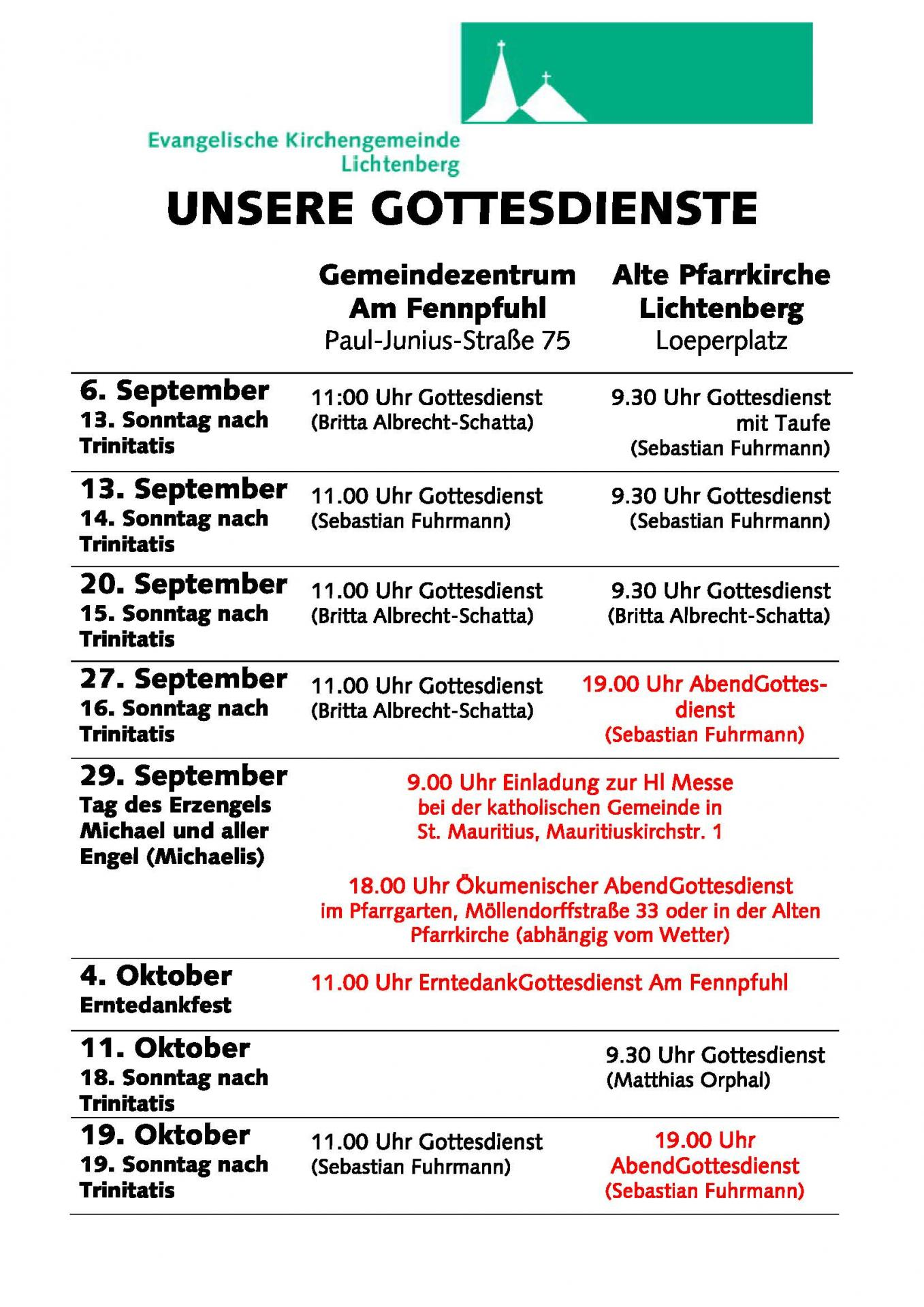 Gottesdienste Sept-Okt2020