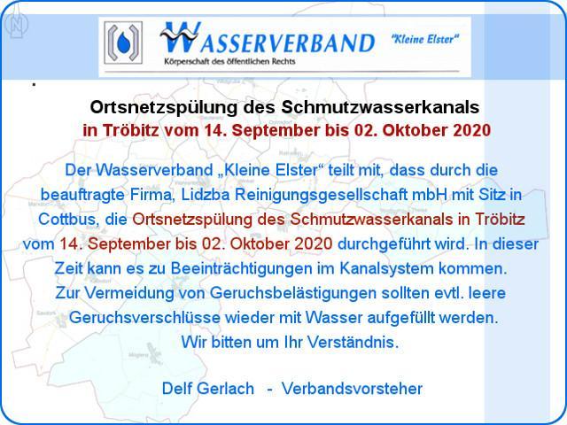 Information Wasserverband Ortsnetzspülung 2020