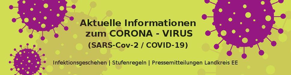 Banner CORONA Virus mit Link zur Corona Information