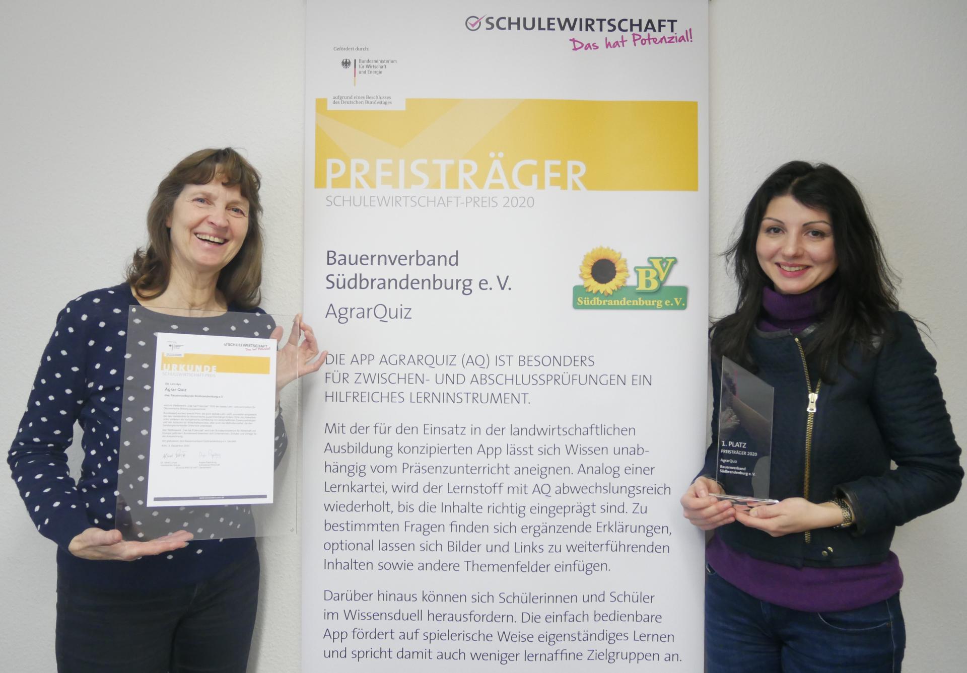 AgrarQuiz gewinnt den 1. Platz beim SCHULEWIRTSCHAFT-Preis in der Kategorie Lehr- und Lehrmedien zur ökonomischen Bildung