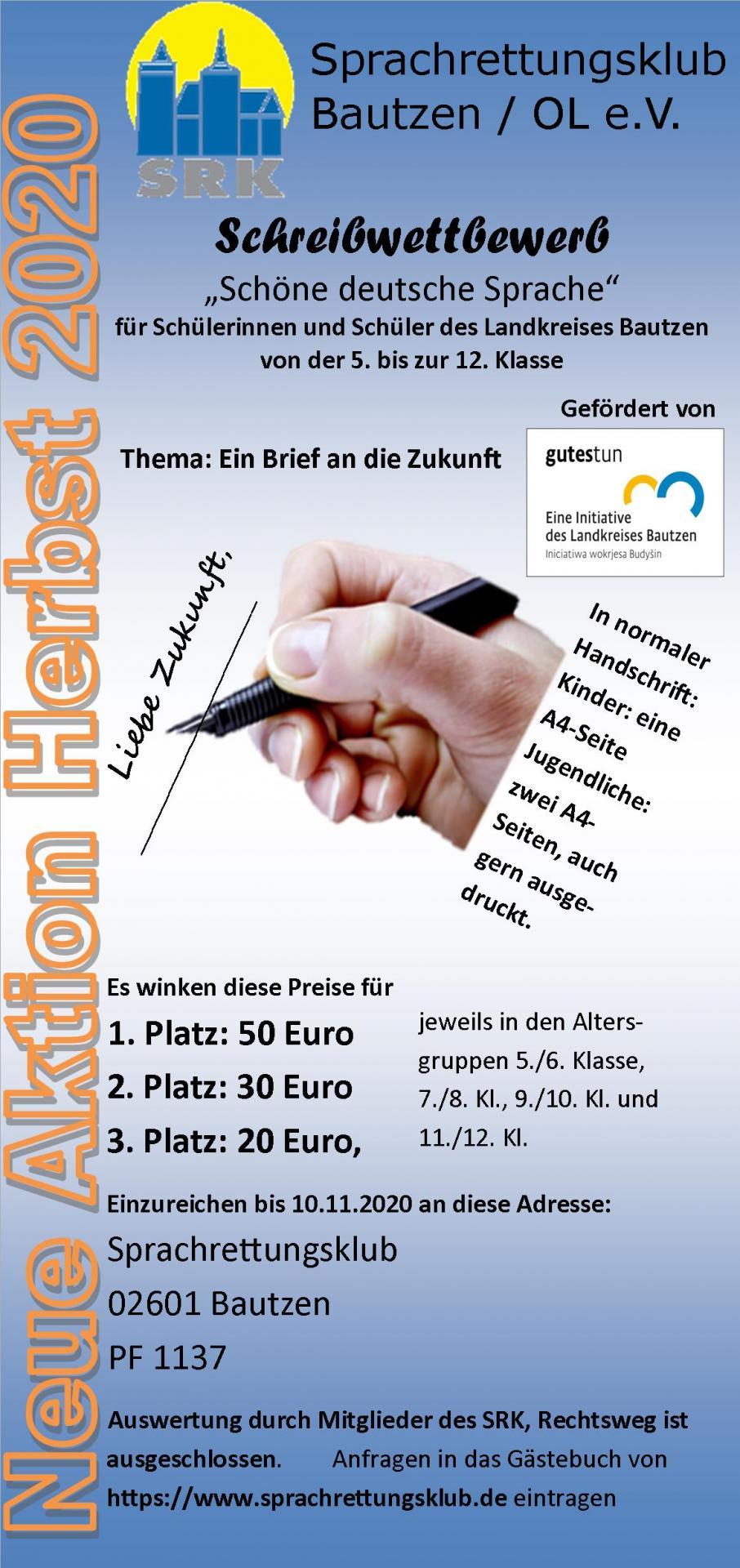 Handzettel Aktion Schreibwettbewerb 2020