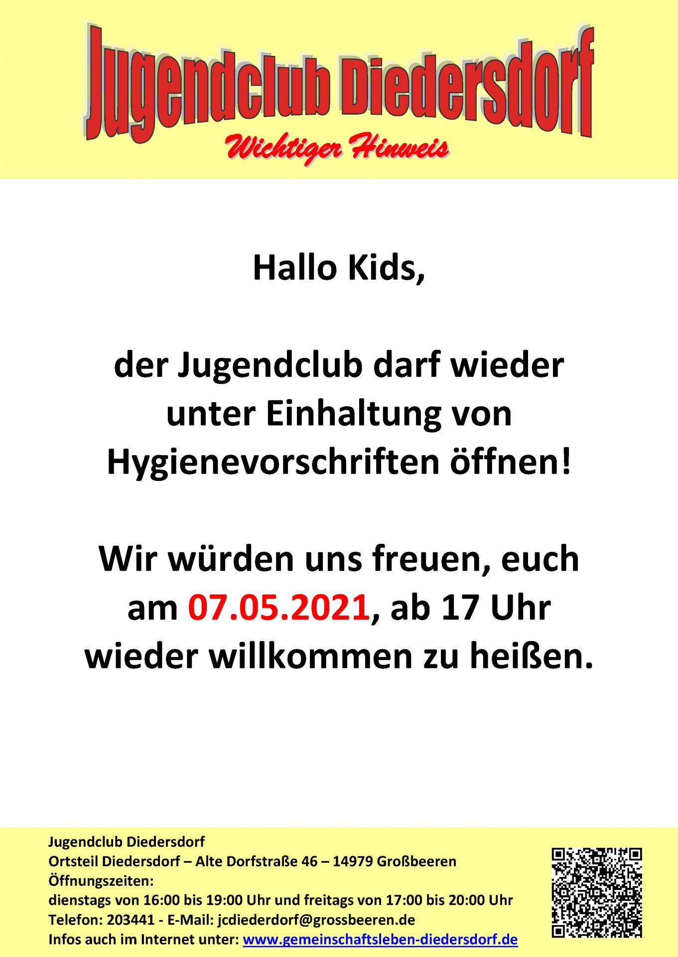 Flyer Jugendclub Diedersdorf Mai 2021