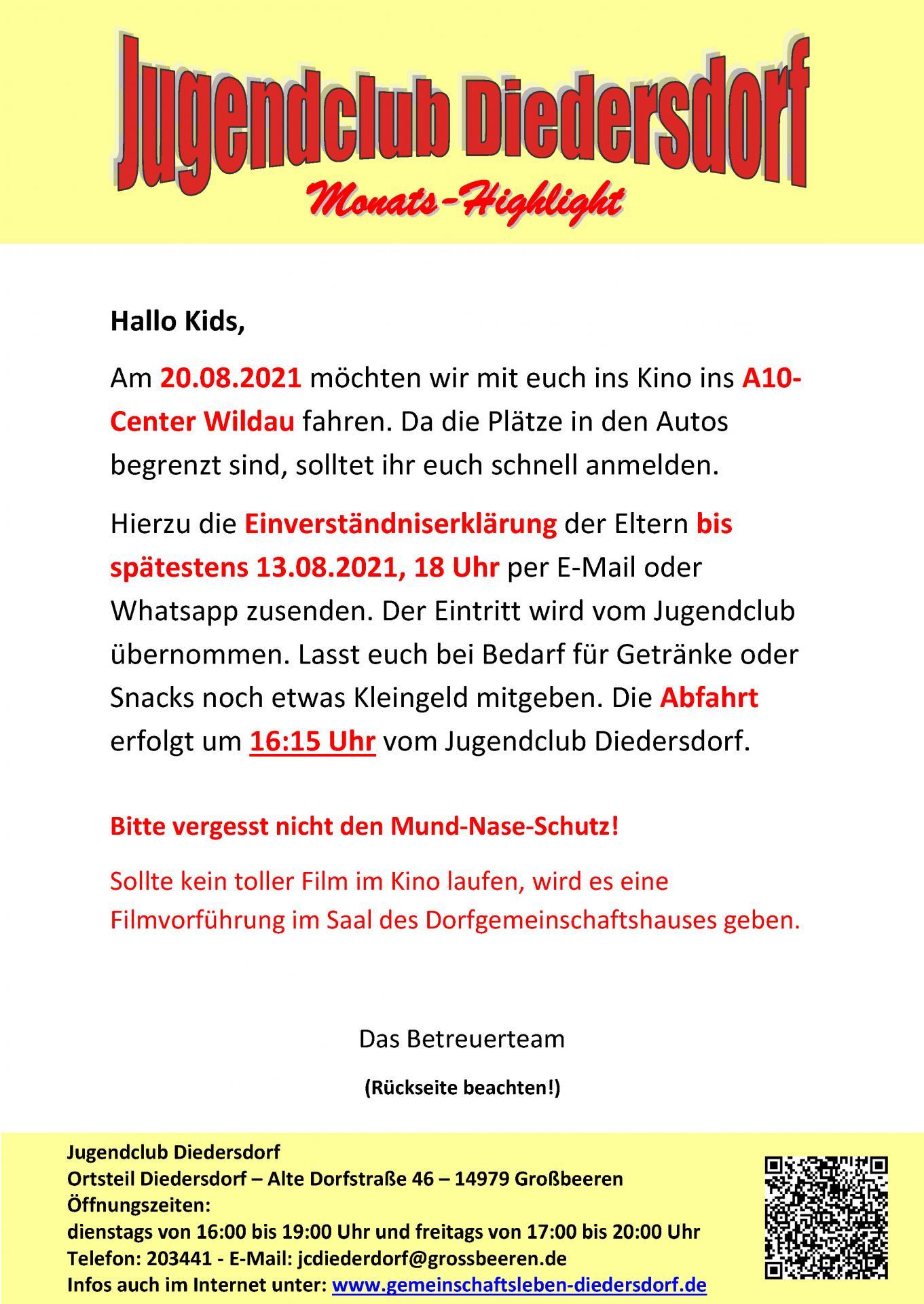 Flyer Jugendclub Diedersdorf August 2021