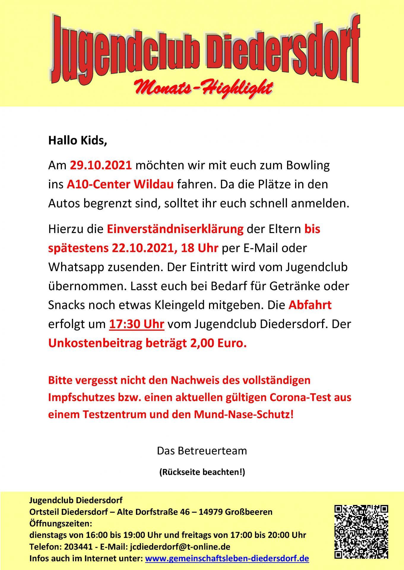 Flyer Jugendclub Diedersdorf Oktober 2021