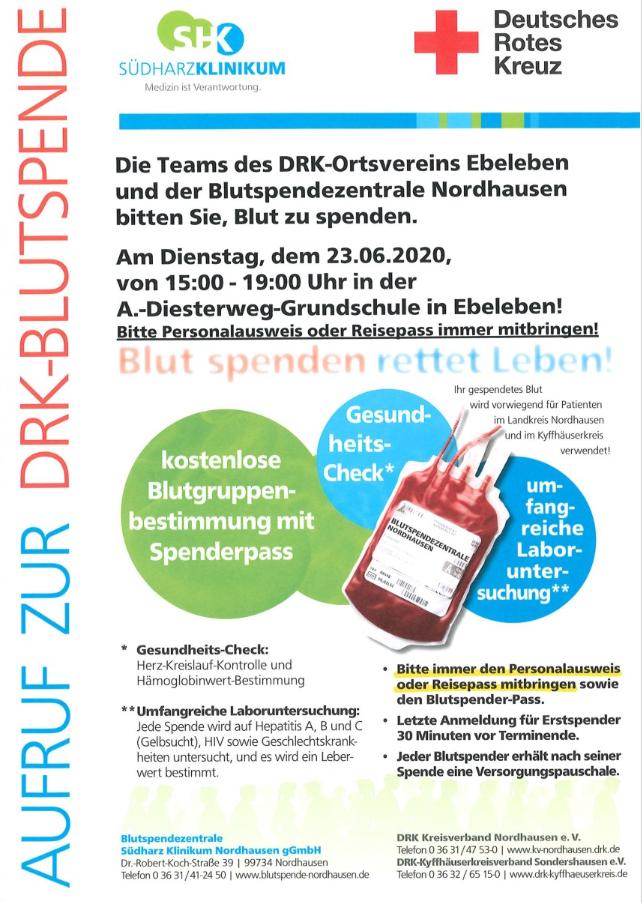 Blutspende Juni 2020
