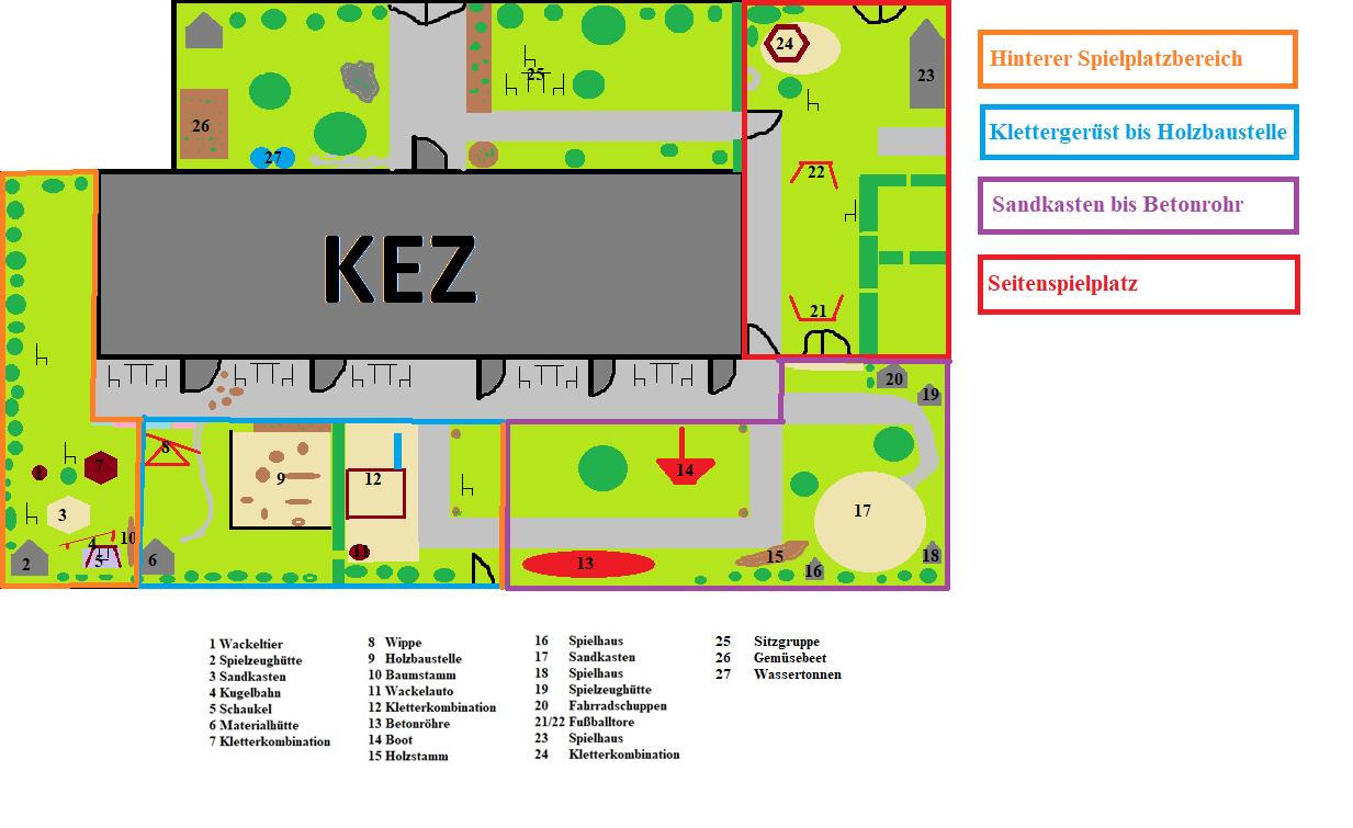Spielplatzskizze mit Bereichen