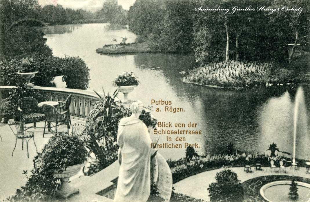 Putbus a. Rügen Blick von der Schlossterrasse in den fürstlichen Park
