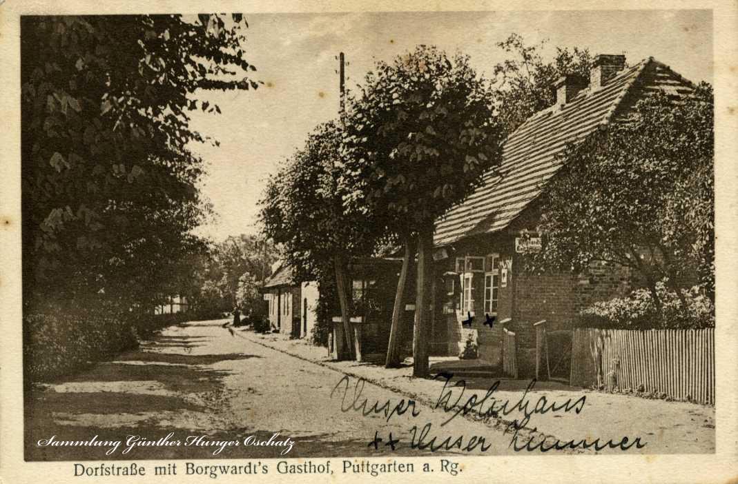 Dorfstraße mit Borgwards Gasthof Puttgarten a. Rg.