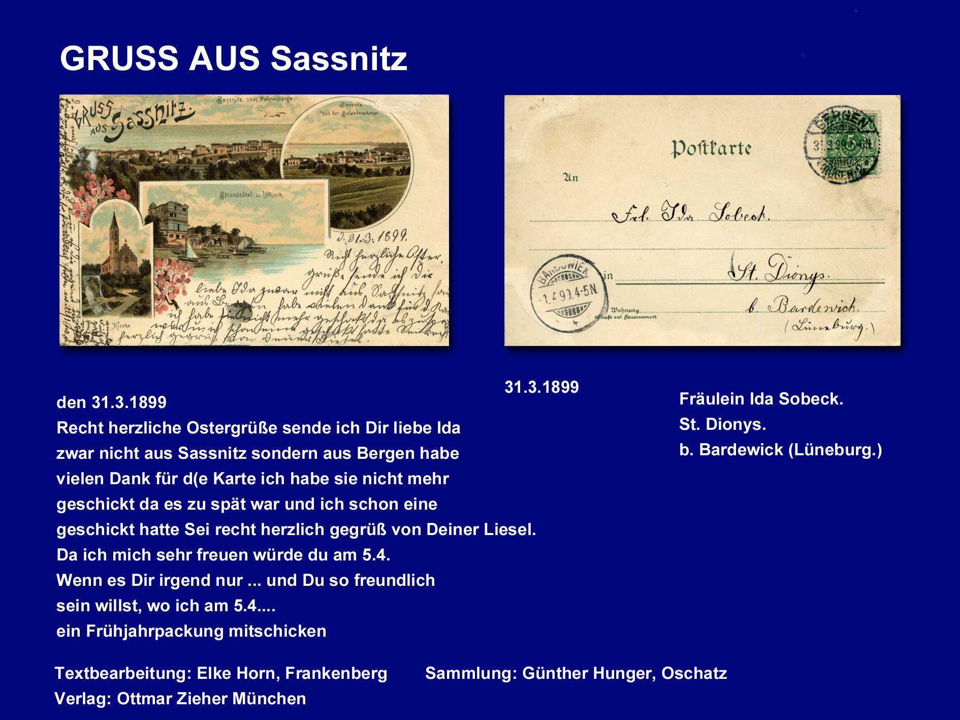 GRUSS aus SASSNITZ 1899