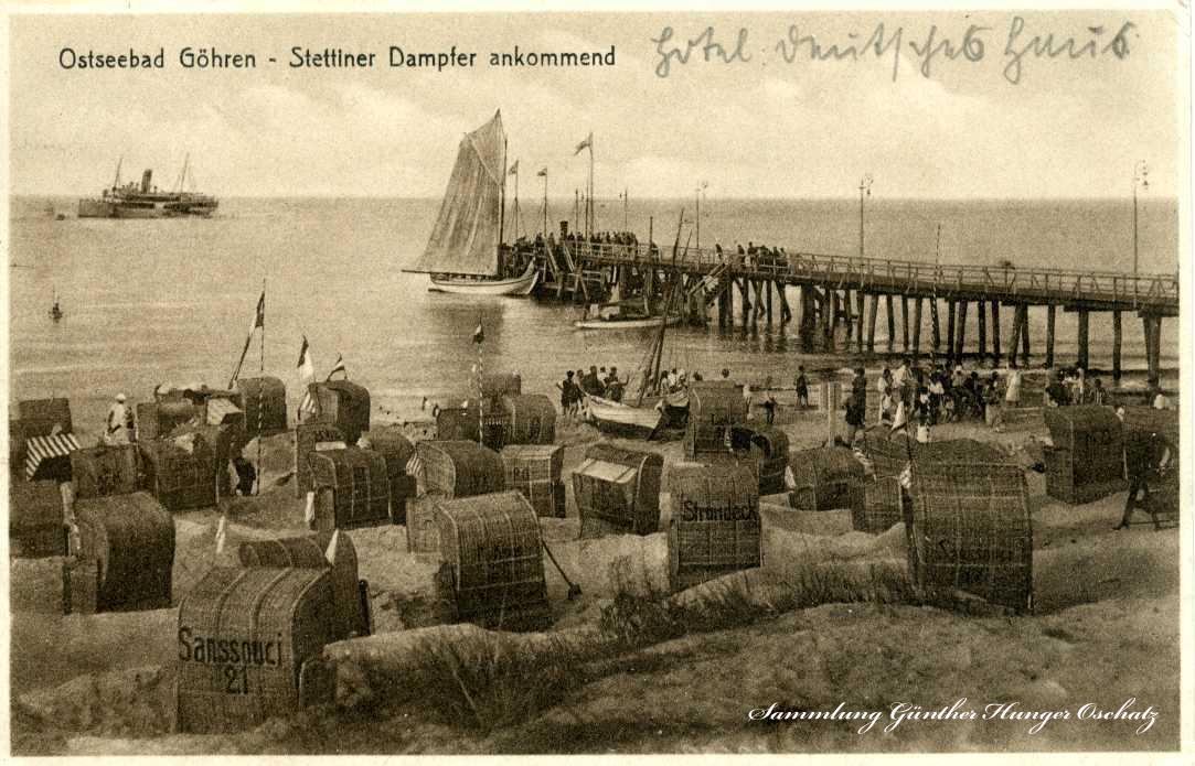 Ostseebad Göhren Stettiner Dampfer ankommend