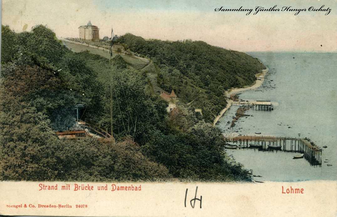 Lohme Strand mit Brücke und Damenbad