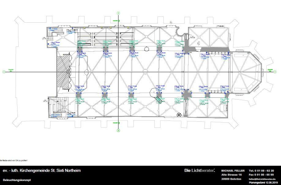 Das Bild zeigt die Orte der Leuchtkörper auf dem Grundriss praktisch in Höhe der Kapitellen.