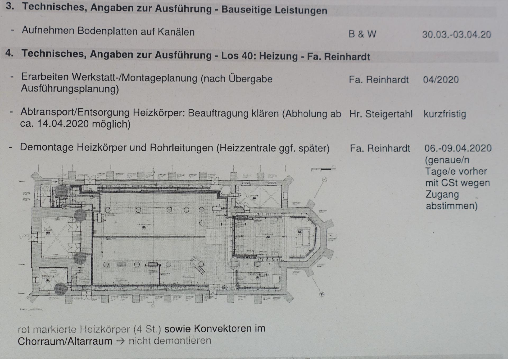 Aktennotiz der Baubesprechung- man sieht, mit welchen Einrichtungen wir bereits Kontakt aufgenommen haben