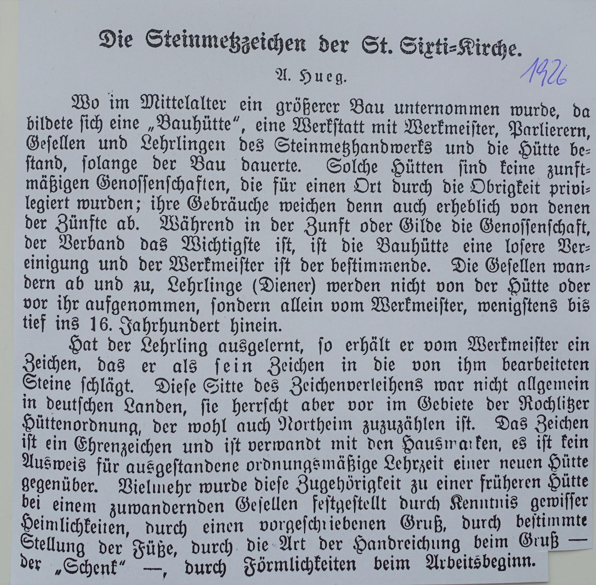 einen Ausschnitt von Alfred Hurg über die Steinmetzzeichen in St.Sixti aus dem Jahre 1926