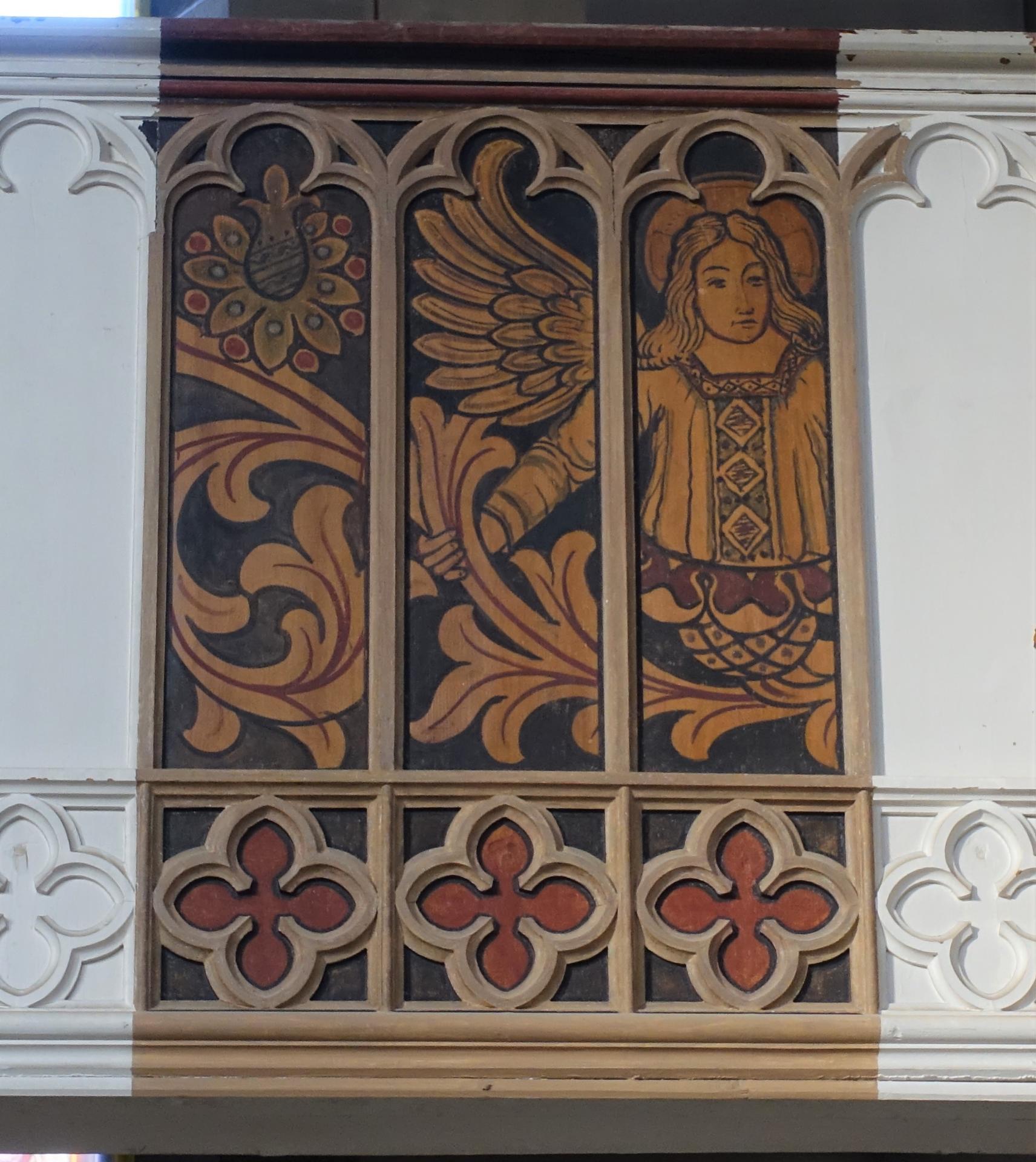 Bild 152 zeigt den von Anja Stadler frei gelegten Engel auf der Nordempore- er wird weiterhin auf die Gemeinde schauen.