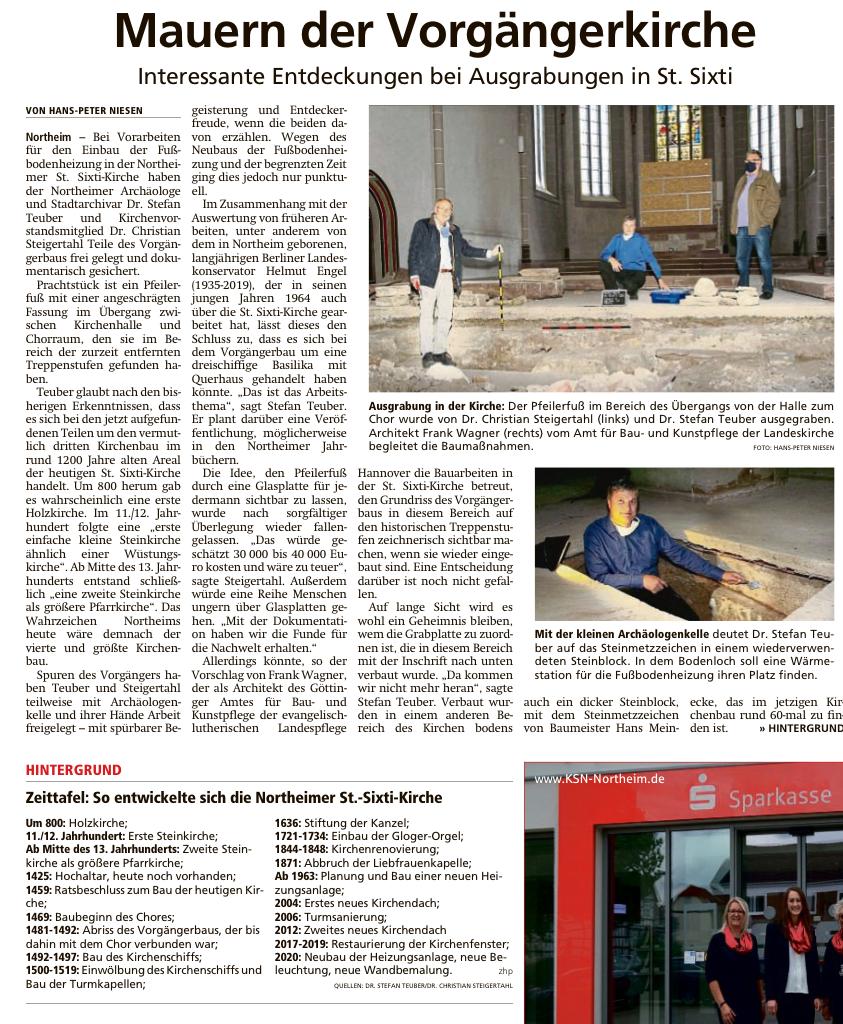 Artikel über die Ausgrabungen in der NNN vom 11.06.2020