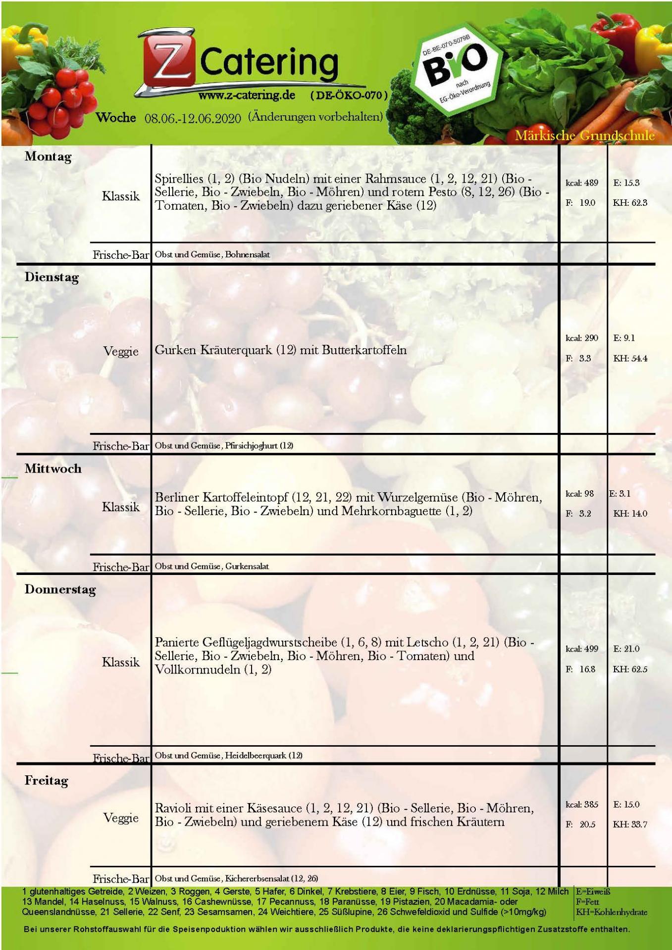 Speiseplan - 24. Kalenderwoche