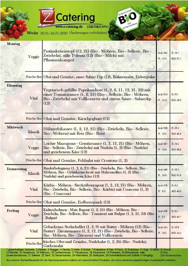 Speiseplan - 4 Kalenderwoche
