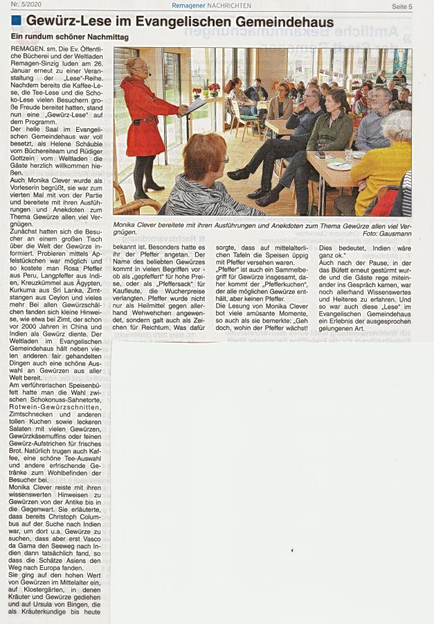 Artikel Remagener Nachrichten zur Gewürz-Lese