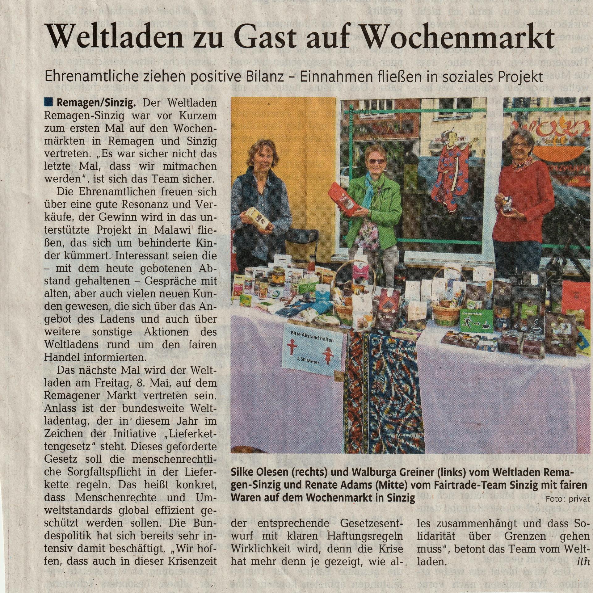 Weltladen auf dem Wochenmarkt