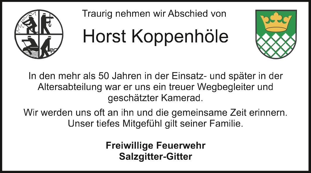 Nachruf Horst Koppenhöle