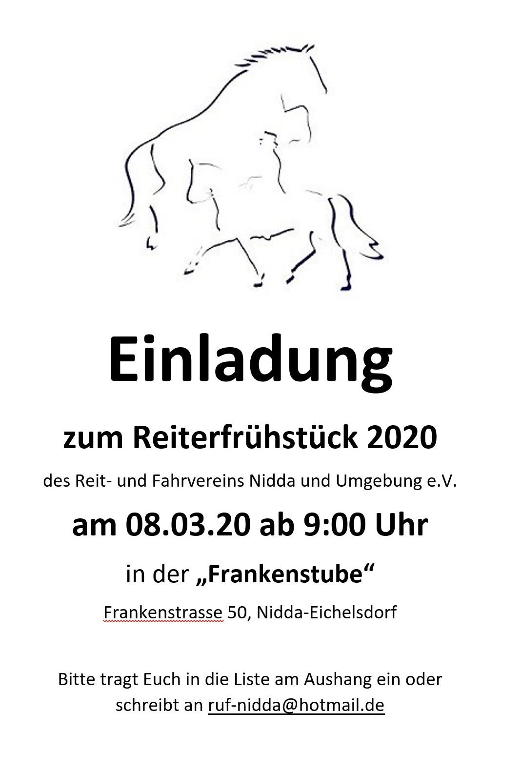 Einladung Reiterfrühstück 2020