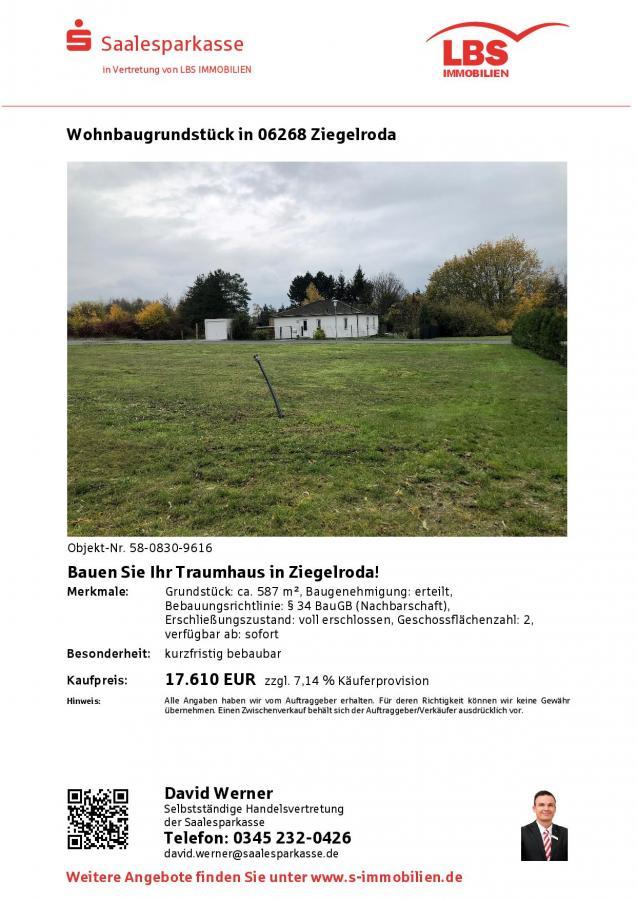 Baugrundstück Ziegelroda 587 qm