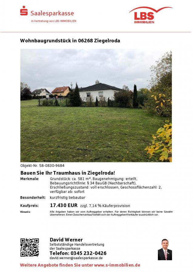Baugrundstück Ziegelroda 581 qm