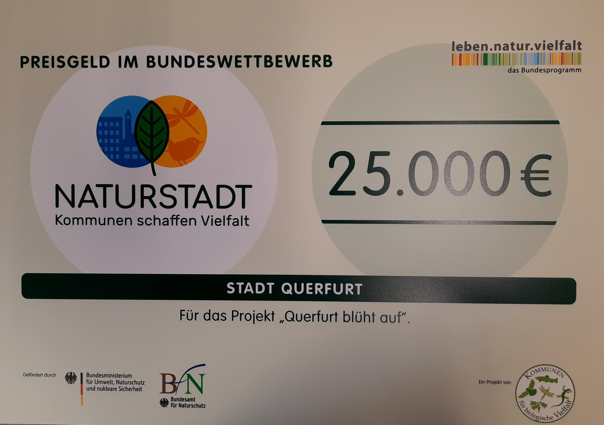 Scheck über 25.000 Euro Preisgeld