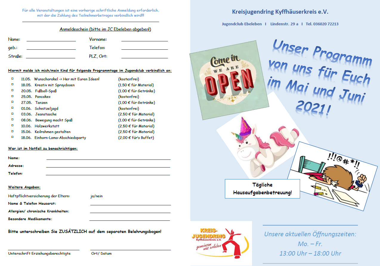 Mai/Juni Programm Jugendclub