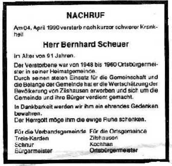 Altbürgermeister Scheuer verstorben