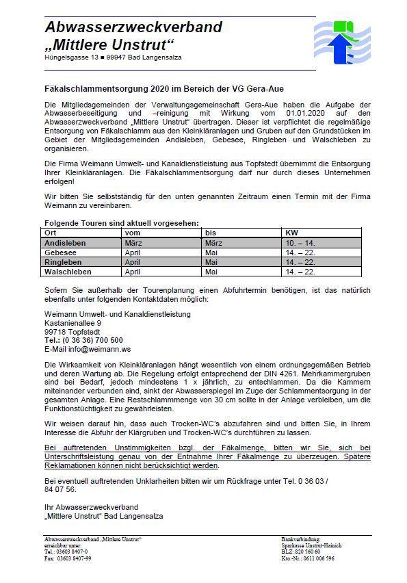 Informationen zur Fäkalschlammentsorgung